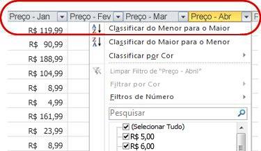 Filtros Automáticos sendo exibidos nos títulos das colunas na tabela do Excel