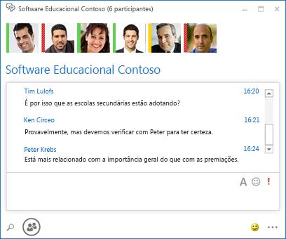 Captura de tela de chat persistente com 6 participantes