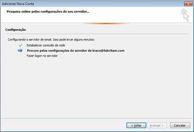 Caixa de diálogo Adicionar Nova Conta indicando que as configurações do servidor de email estão sendo definidas
