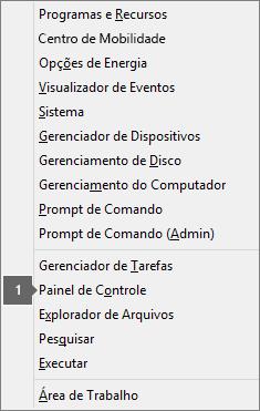 Lista de opções e comandos vista após pressionar a tecla com o logotipo do Windows + X