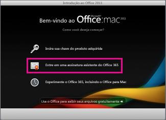 Página inicial de instalação do Office para Mac