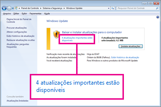 Links no painel do Windows Update