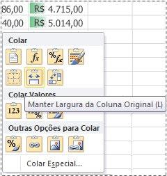 Opções no menu Visualizar Colar