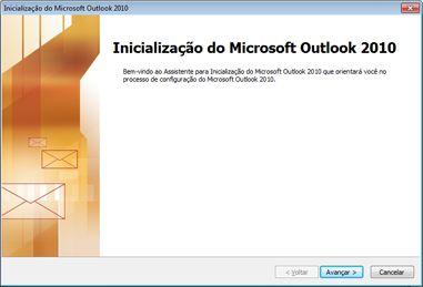 Janela de inicialização do Outlook 2010