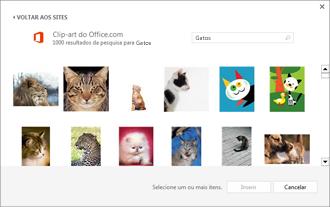 Exemplo de imagens de gato no site de clip-art
