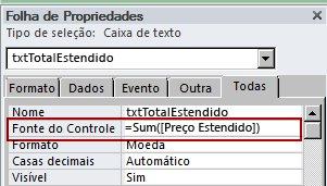 Uma expressão na propriedade Fonte do Controle de uma caixa de texto.