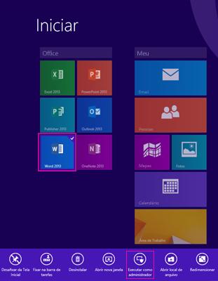 Executar como administrador na tela Iniciar do Windows 8