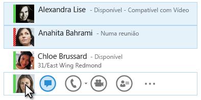 Captura de Ecrã dos contactos com o seus estados apresentados e o ícone de MI realçado