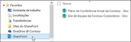 Pastas da biblioteca de sites de equipa sincronizadas colocadas nos favoritos do Windows