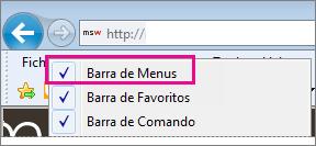 Mostrar a barra de menus no Internet Explorer