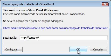 A caixa de diálogo Sincronizar com o Computador
