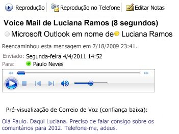 Mensagem de correio de voz com transcrição