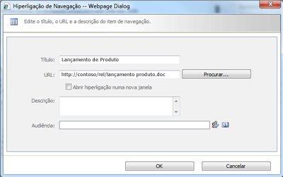 Caixa de diálogo Hiperligação de Navegação