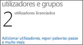 Dashboard do Administrador – Utilizadores e grupos