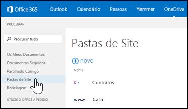 Selecione pastas de sites para localizar sites que está a seguir que contêm bibliotecas de documentos