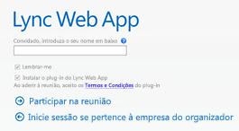 Ecrã de participação do Lync Web App para uma reunião do Lync 2013