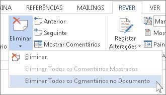 Comando Eliminar Todos os Comentários no Documento no menu Eliminar Comentários