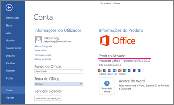 Word 2013 a mostrar a janela Ficheiro > Conta