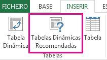 Botão Tabelas Dinâmicas Recomendadas no separador Inserir