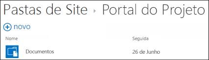 Uma biblioteca de documentos num site de equipa que está a seguir