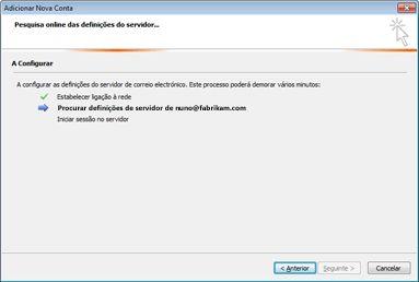 Caixa de diálogo Adicionar Nova Conta a indicar que as definições do servidor de correio eletrónico estão a ser configuradas