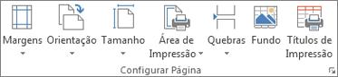 Grupo de Configuração da Página no separador Esquema de Página
