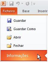 No separador Ficheiro, clique em Informações.