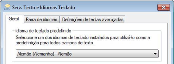 Caixa de diálogo Serviços de Texto e Idiomas de Teclado
