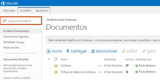 A Caixa de Consulta no OneDrive