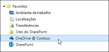 Pasta da biblioteca do OneDrive para Empresas listada nos favoritos do Windows