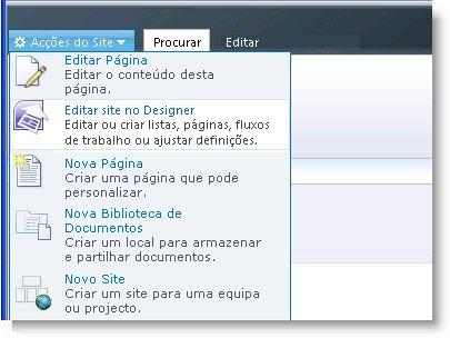 SharePoint Designer 2010 no menu Acções do Site