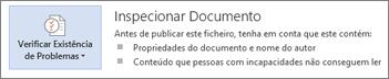 Inspecionar Documento no Word 2013