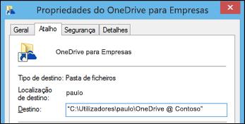 Propriedades da pasta para a pasta da biblioteca do OneDrive para Empresas sincronizada
