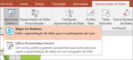 Mostra a opção para apresentar online no PowerPoint