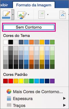 No menu Borda de Imagem, a opção Sem Contorno é realçada.