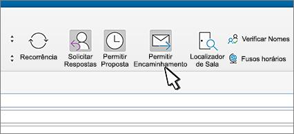 Faixa de opções com seta apontando para o botão Permitir Encaminhamento