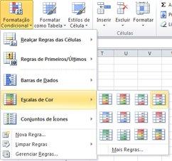 escalas de cores para formatação condicional
