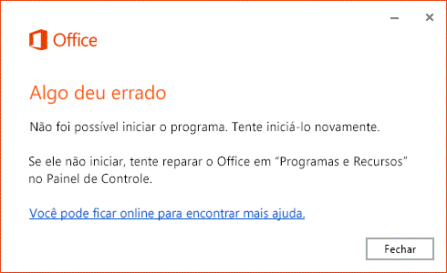 "Erro ""Algo deu errado"" ao abrir o aplicativo do Office"