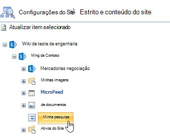 Na janela Gerenciador de sites, clique em pesquisa na barra de início rápido