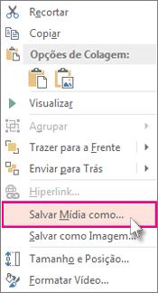 Clique com o botão direito do mouse no quadro de vídeo.