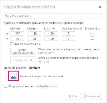 Caixa de diálogo Opções de mapa personalizado