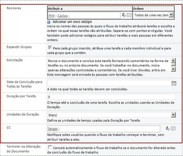 Segunda página do formulário de associação com identificação dos campos de formulário de inicialização