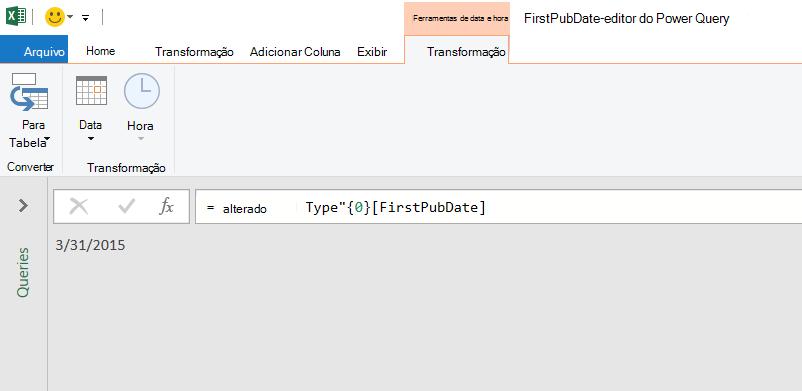 Editor do Power Query exibindo um valor de data simples