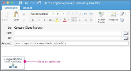 Uma mensagem de email com o bloco de assinatura