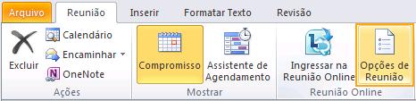 Imagem da faixa de opções do Outlook