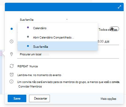 A caixa de diálogo Novo Evento com a lista do Calendário do Outlook aberta e Sua família selecionada.