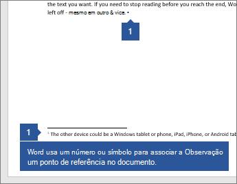 O Word usa um número ou símbolo para associar a Observação um ponto de referência no documento