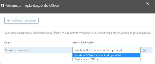 No painel Gerenciar implantação do Office, escolha Instalar o Office assim que possível ou Desinstalar o Office.