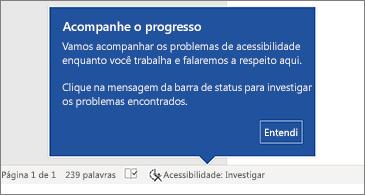 Barra de status mostrando o Verificador de Acessibilidade em execução