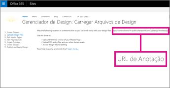 No Gerenciador de Design do Office 365, copie ou anote a URL